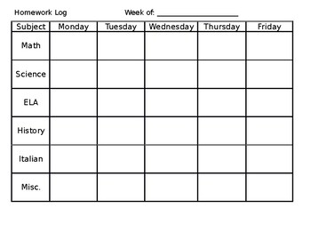 Resource: Weekly Homework Tracking Sheet
