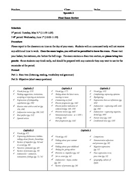 Resources for Spanish teachers (final exam review packet)