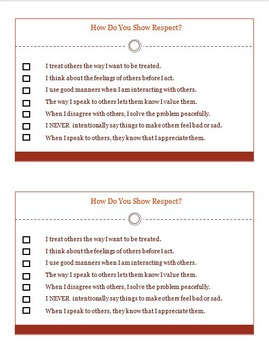 Respect Character Ed Student Self-Assessment Half-Page WORKSHEET