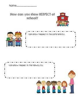 Respect- Ways I can show respect at school