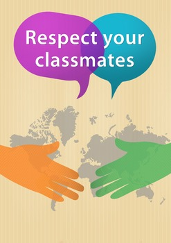 """""""Respect your classmates"""" Class rule poster for ESL students"""