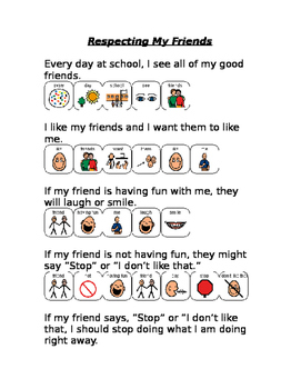 Respecting friends social story