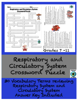 Respiratory and Circulatory System Crossword Puzzle