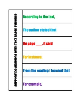 Responding to Literature- Text Based Evidence