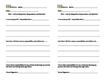 Response Sheet for Behavior Needing Redirection