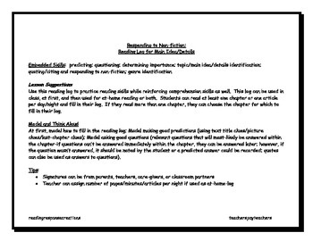 Nonfiction Reading Log for Main Idea/Details