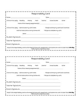 Responsibility Card