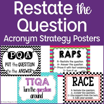Restate the Question: Acronym Strategy Posters {freebie!}