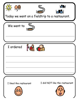 Restaurant Field Trip Comprehension Sheet for Kids with Autism