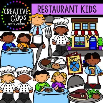 Restaurant Kids {Creative Clips Digital Clipart}
