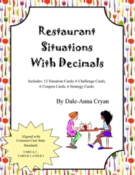 Restaurant Situations with Decimals Task Cards (5.NBT.A.3,