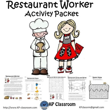 Restaurant Worker No Prep Activity Packet and Worksheets