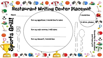 Restaurant Writing Center Sports Grill! Literacy, Reading,