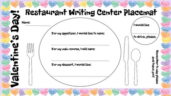 Restaurant Writing Center Valentine's Day! Literacy, Readi