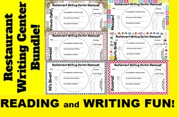 Restaurant Writing Centers 1-6 Bundle; Literacy and Food Fun!