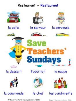 Restaurant in French Worksheets, Games, Activities and Fla