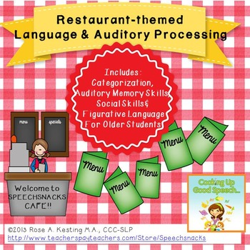 Restaurant Themed  Language Skills & Auditory Processing C