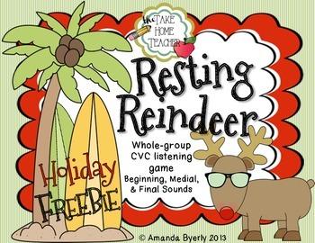 Resting Reindeer - CVC (beginning, medial,& final sounds)