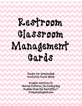 Restroom Classroom Management Cards