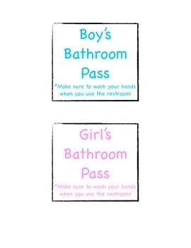 Bathroom Pass Labels