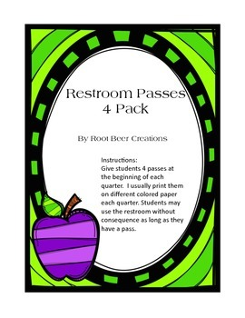 Restroom pass for all 4 quarters