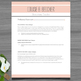 Resume Template + Cover and Reference Letter (Peach color)