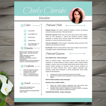 Resume Template w/ Picture + Cover and Reference Letters f