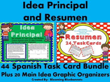 Resumen, Idea Principal SPANISH Task Card BUNDLE
