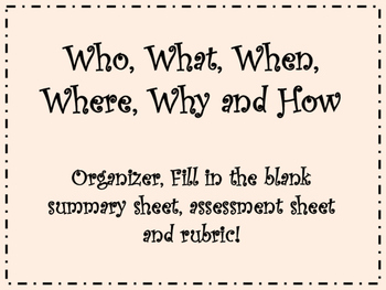 Retell Organizer, Rubric Included!