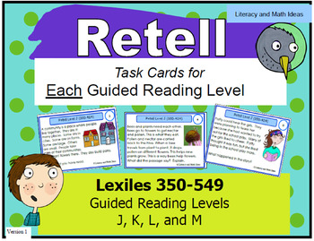 Retell Task Cards For Each Guided Reading Level (Levels J,