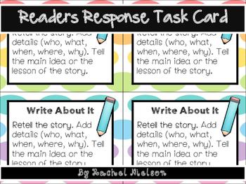 Retelling & Central Message - Readers Response Journal Task Card