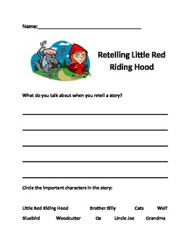 Retelling Little Red Riding Hood Assessment - Setting, cha