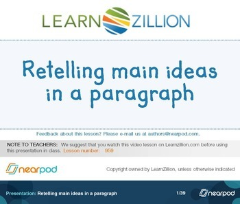Retelling main ideas in a paragraph