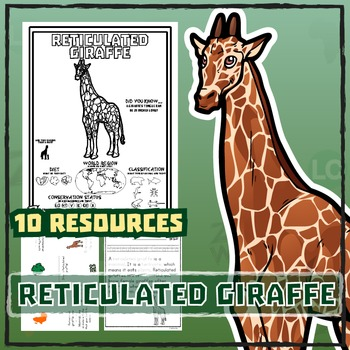 Reticulated Giraffe -- 10 Resources -- Coloring Pages, Rea