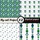 Retro Blue and Green - DIGITAL PAPER - Scrapbooking- A4 &