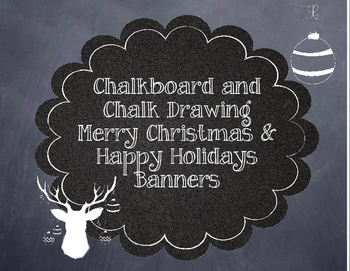 Retro Chalkboard and Chalk Drawing Merry Christmas and Hap
