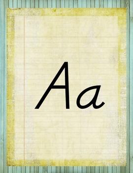 Retro Chic Alphabet Posters Manuscript