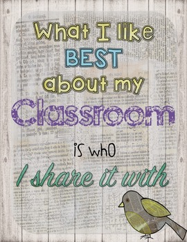 Retro Chic What I Like About My Classroom Poster
