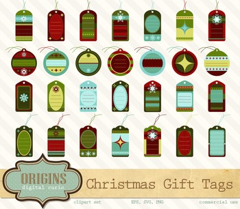 Retro Christmas Gift Tags Clipart
