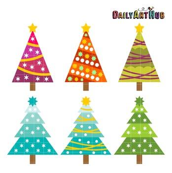 Retro Christmas Trees Art Clip Art - Great for Art Class P