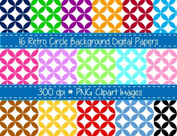 Retro Circles 16 Digital Background Paper Pack- Instant Download