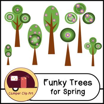 Retro Trees for Spring Clip Art {Commercial Use OK!} sprin