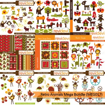 Retro animals clip art mega bundle (9 packs)