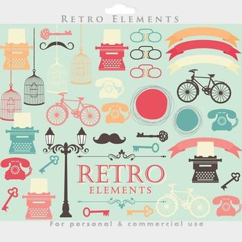 Retro clipart vintage typewriter bike bicycle key glasses