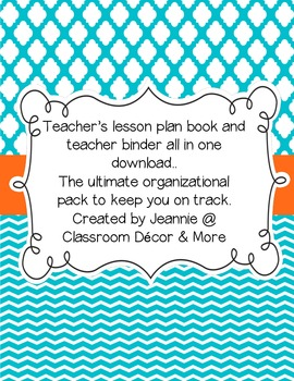 Retro orange, aqua and white teacher planner/binder