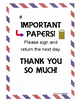 FREE Return Important Papers Note ~ Just English or with S