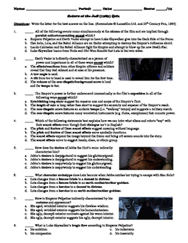 Return of the Jedi Film (1983) 15-Question Multiple Choice Quiz