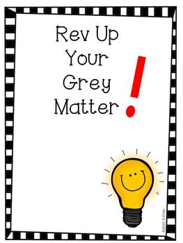 Rev Up Your Grey Matter - Math Interactive Notebook