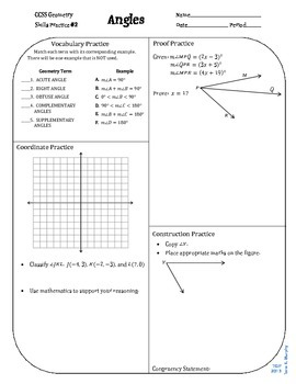 Review #2 Angles Geometry CCSS
