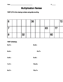 Review 6,7,& 8 Times Tables